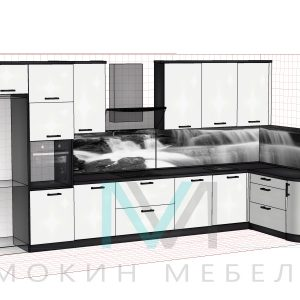 "Эскиз - Угловая кухня ""Водопад"""
